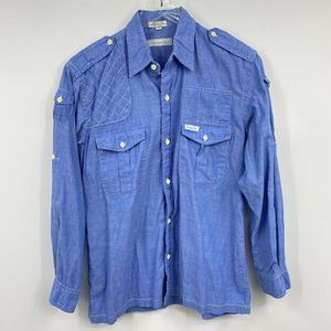 Vintage Christian Dior Shirt M Chambray Blue